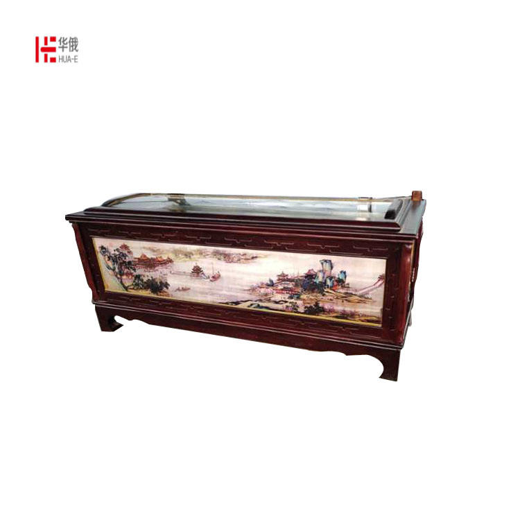 solid wood coffin with flower carving wood casket China funeral coffins and caskets