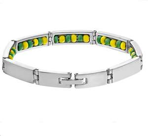 Stainless Steel Green and Yellow Color Orula Hidden Bracelet Yellow Beads Unisex Bangle