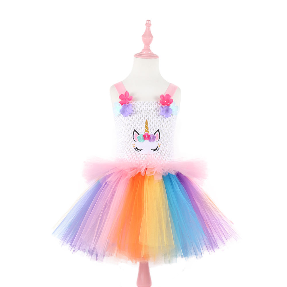 Floral Unicorn Princess Dress Girl Kids Birthday Wedding Party Dresses