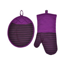Wholesale strip lane silicone oven mitts and silicone pot holder set