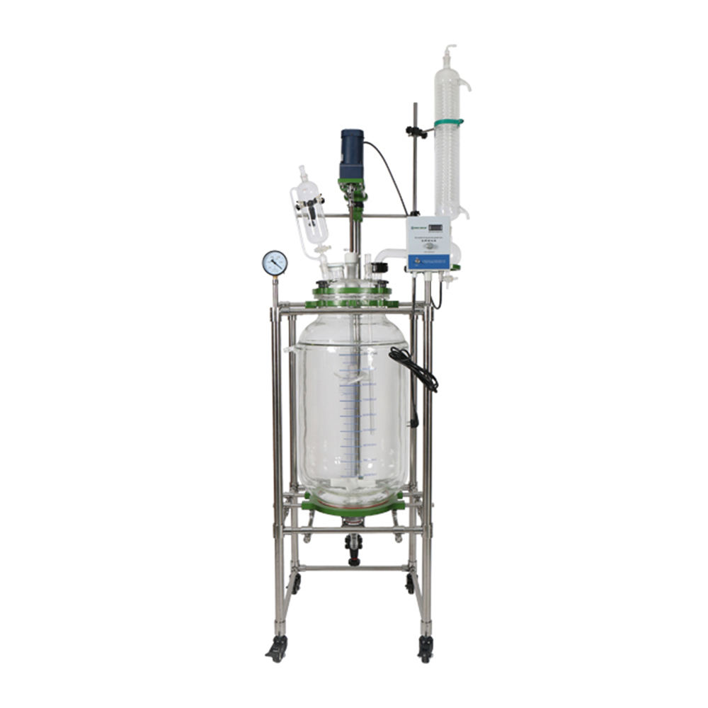 Easy To Operate [ Glue Reactor Reaction ] Glass Reactor 100 Liter 100 Litre Glue Glass Tank Reactor With 5 Neck Lid And Double Layer Reaction Tank