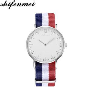 shifenmei S1075N Global hot sales Promotion Unisex Casual nylon strap Quartz simple design wrist watch