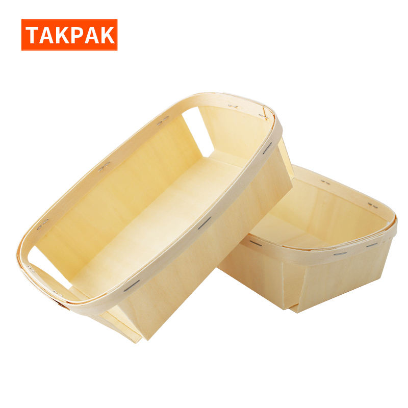 Wholesale Disposable Wooden Woven Basket Take Away Food Fruit Clamshell Packaging Container