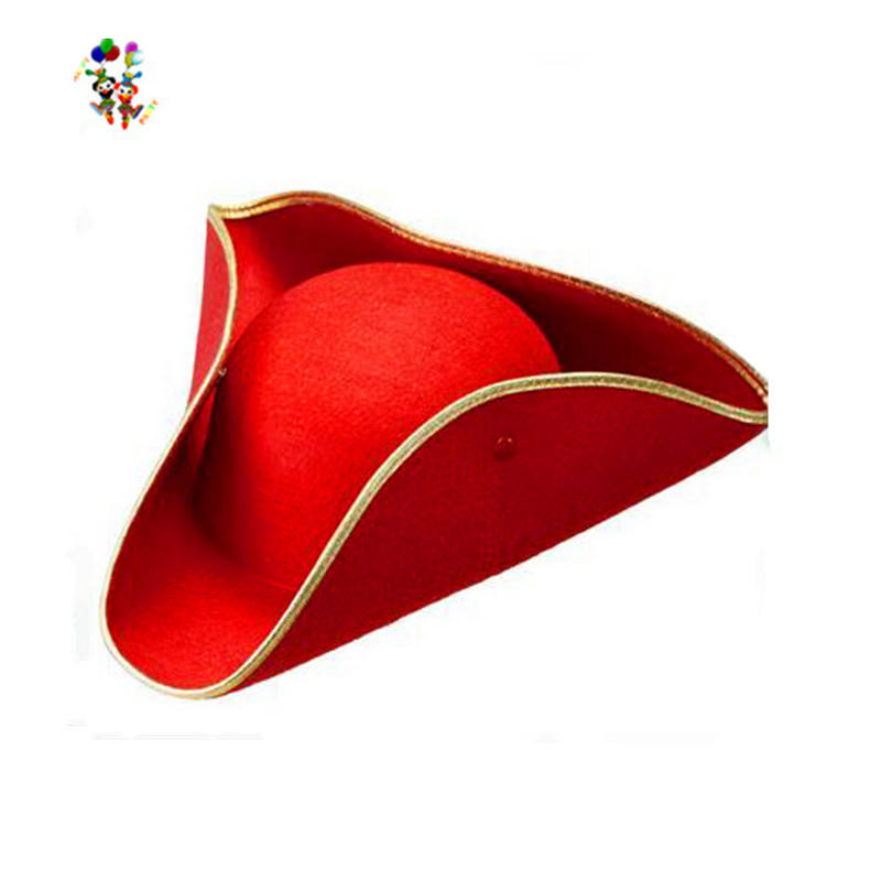 Cheap Party Navy Cavalie Red Tricorn Felt Pirate Hats HPC-1460