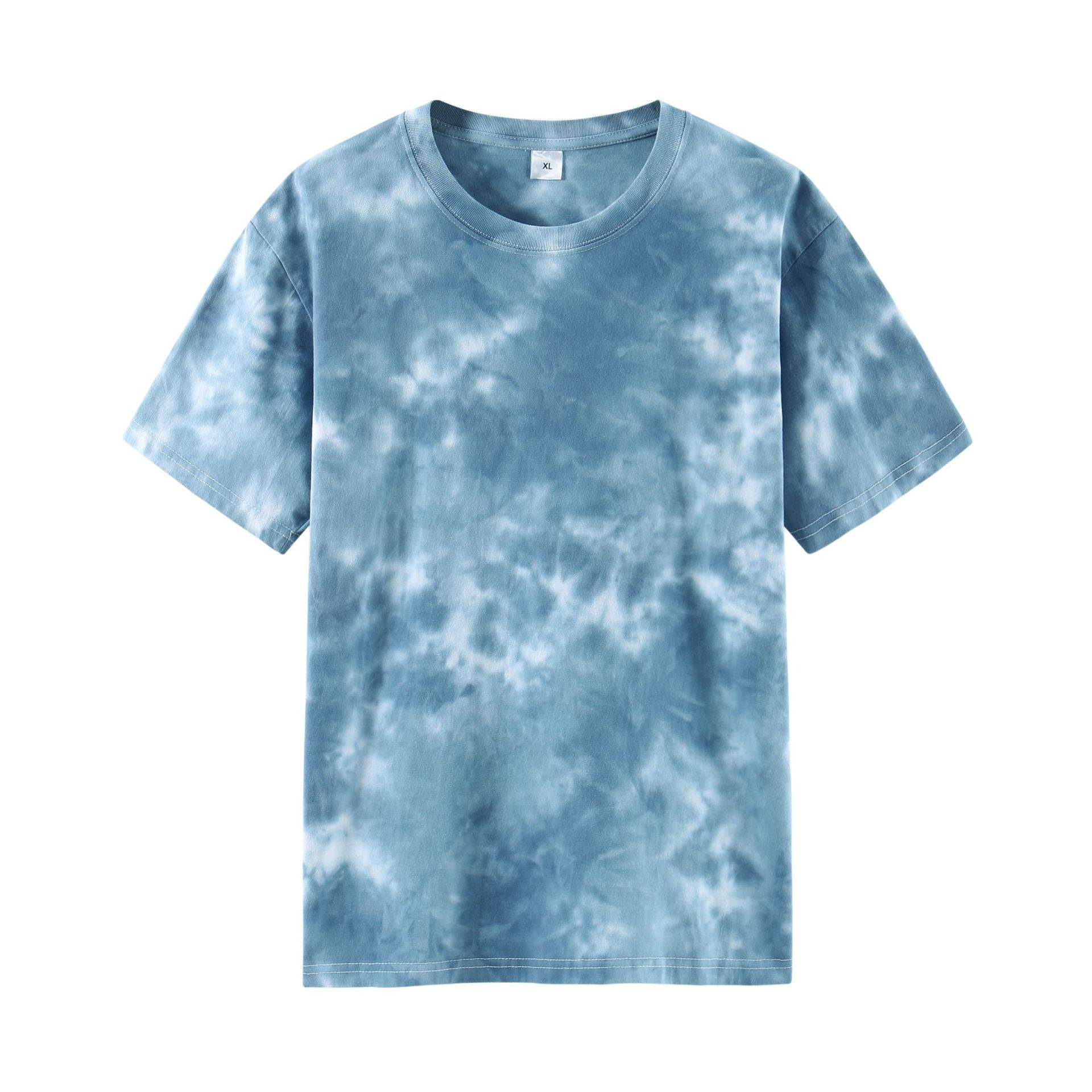 Cotton short-sleeved T-shirt camouflage tie-dye washed retro loose round neck tie dye t shirts
