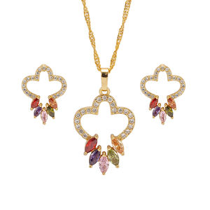 IPMIN Guangzhou Jewelry Cheap Price Indian Bridal 18K Gold Plated Jewelry Sets