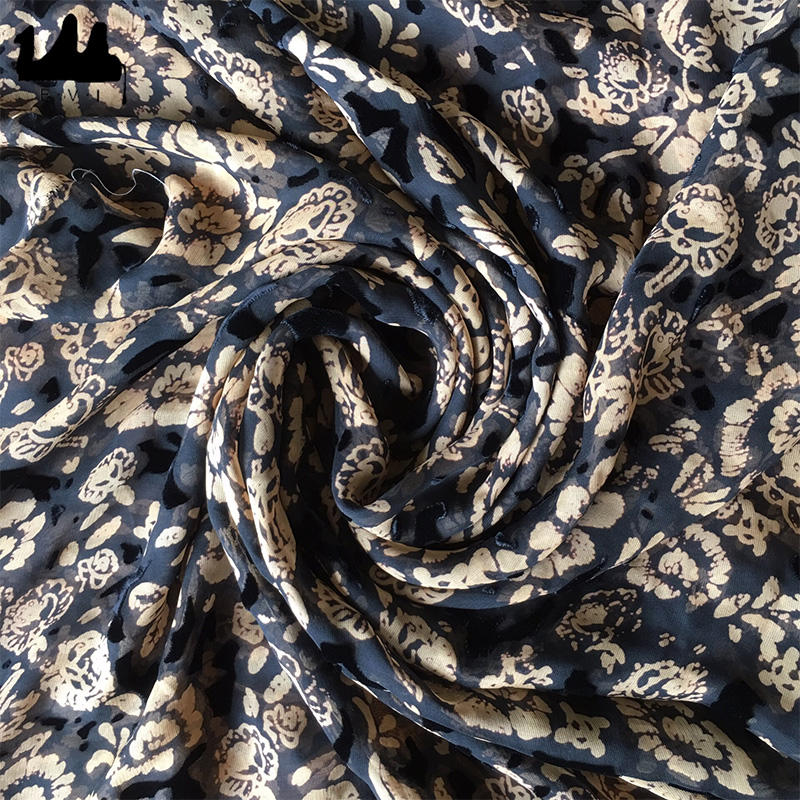 silk viscose velvet burn-out digital printing silk fabric
