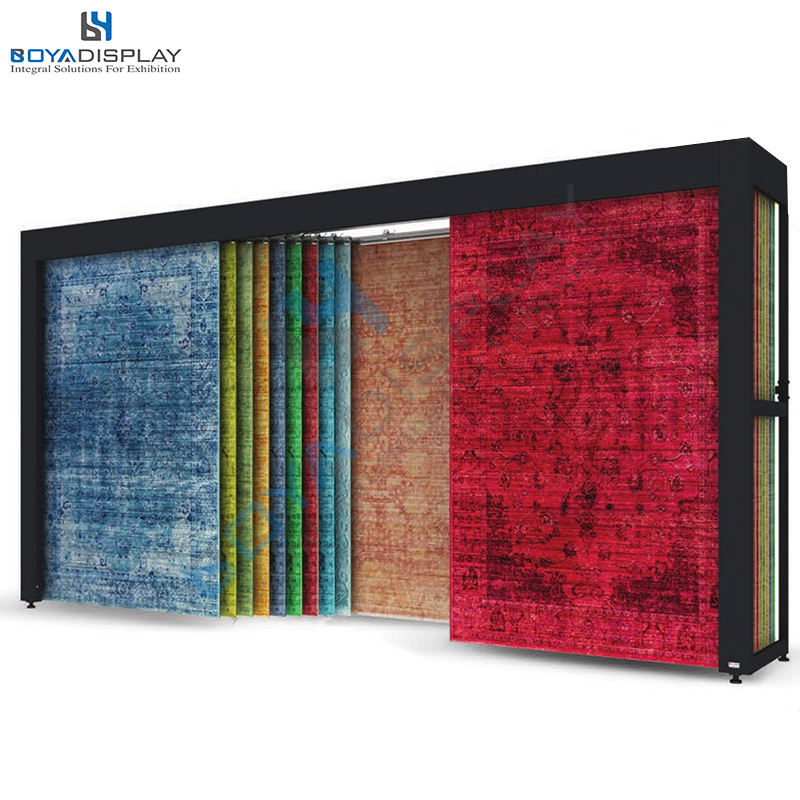 Customized strong metal material high class carpet fabric rug display stand