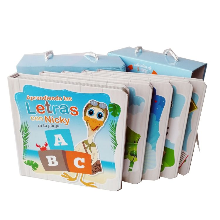 Factory OEM grey board children early education book set with box / baby puzzle board book gift set