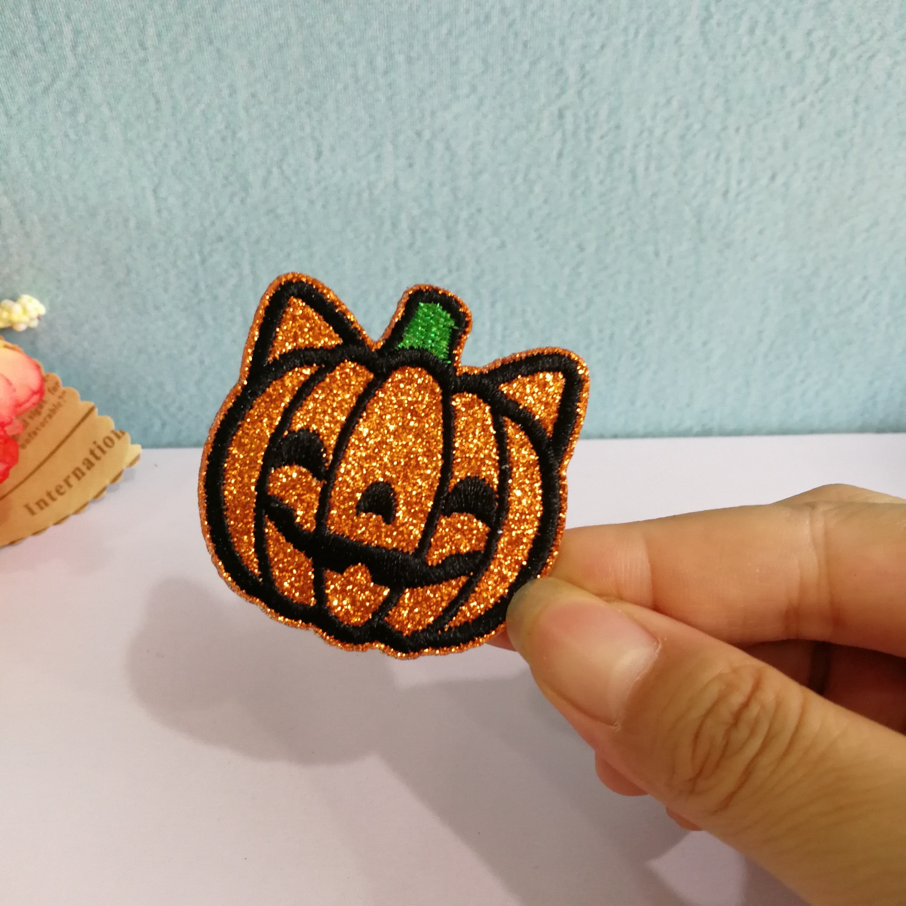 Glitter patch pumpkin patches embroidery patches custom patches for clothing custom embroidery patch for t shirts , hats , shoes
