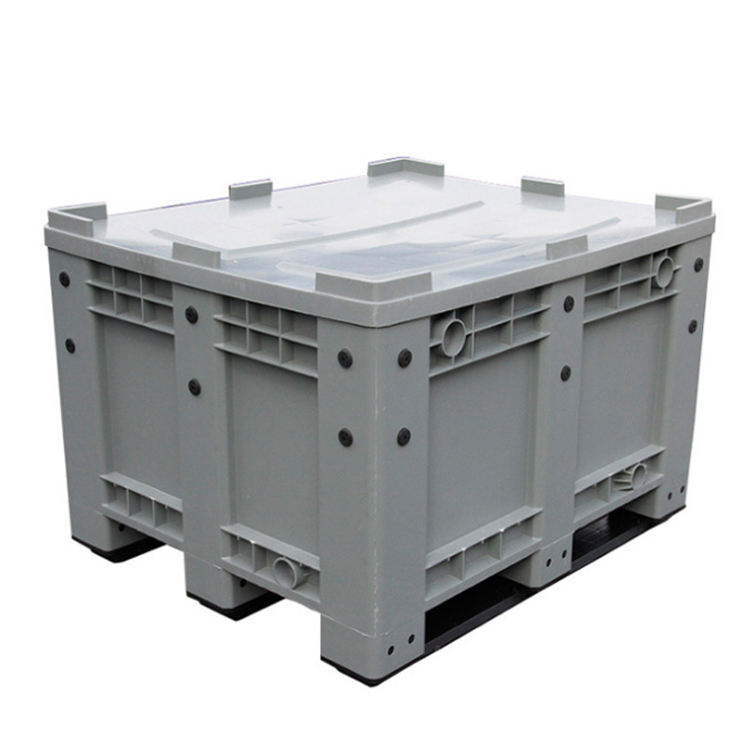 Heavy duty stackable plastic pallet container mega bin