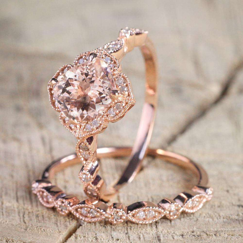 2 Pcs/Set Exquisite 18k Rose Gold Plated Zircon Rings European and American Fashion Wedding Engagement Rings for Women Jewelry