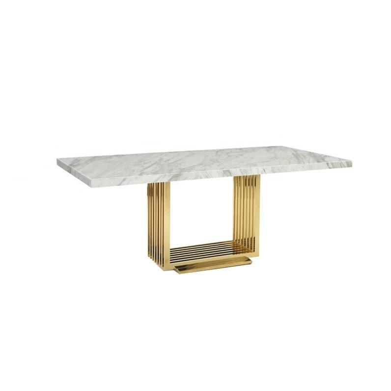 Modern Dining Room Furniture Rectangle Dining Table Stainless Steel Marble top Restaurant Table for Home Hotel