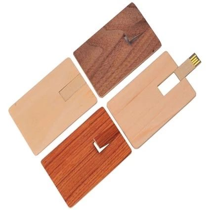Wooden Swivel Usb Flash Drive Credit Card Disk Free Logo Wholesale Manufacturing Pendrive 8Gb 32Gb Gift Box Business