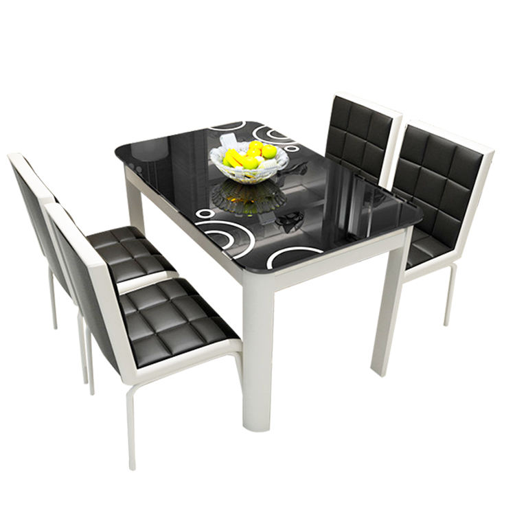 Home dining room furniture classic design simple modern glass dining table chair set