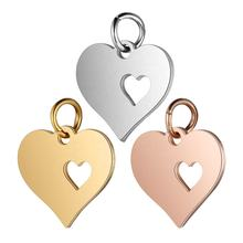 100% Stainless Steel 3 Colors Heart Charms Pendant T457 Wholesale Polished DIY Jewelry Charm for Necklace Bracelet Making