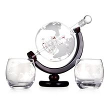 Amazon Hot Selling Whisky Globe Decanter Glass Whiskey Decanter With Two Glasses