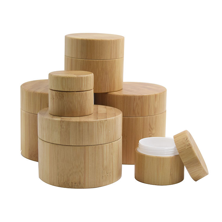 5/10/20/30/50/100/200/250/300/500g Hot sale Full bamboo cover cream plastic jar with wooden lid