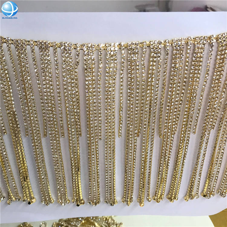 Silver Rhinestone Cup Chain Fringe Trimming for Garment Accessories