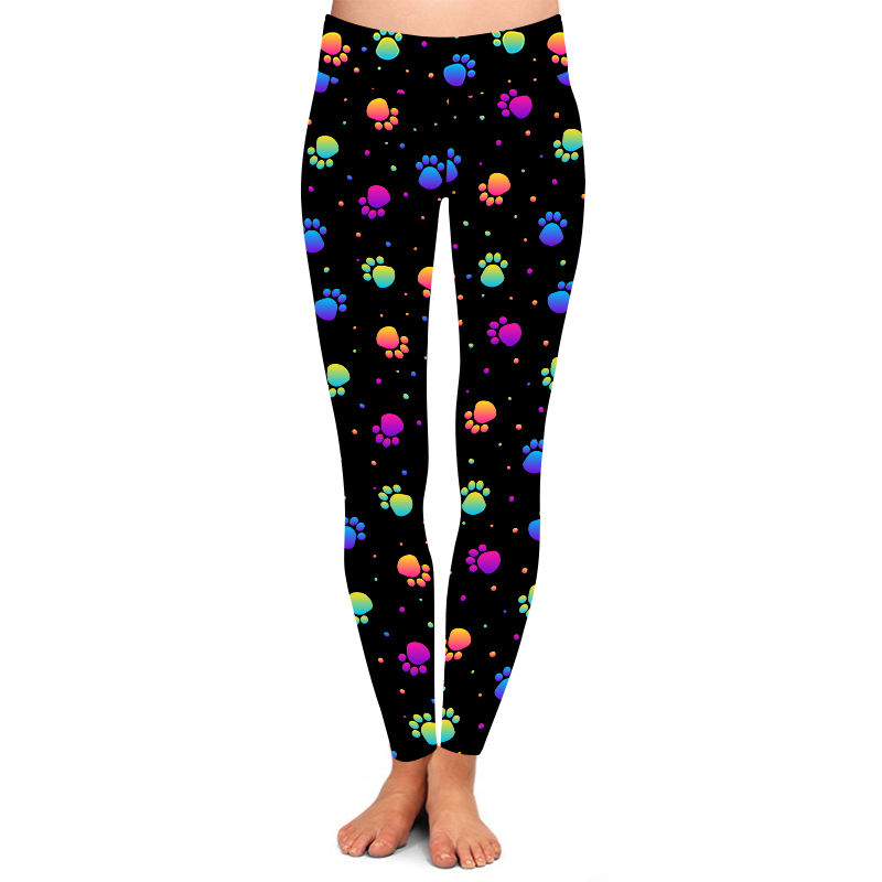 High yoga waist super soft peach skin colorful paw print leggings