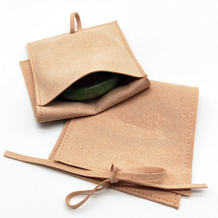 Custom Suede Environmentally Friendly Brown Velvet Small Bag Jewelry Pouch, Jewelry Velvet Pouch Bracelet Packaging
