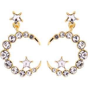 e971196d New Style Gold/Rhodium Plated 925 Silver Post Fashion Crystal Rhinestone Crescent Moon Star Earrings for Women