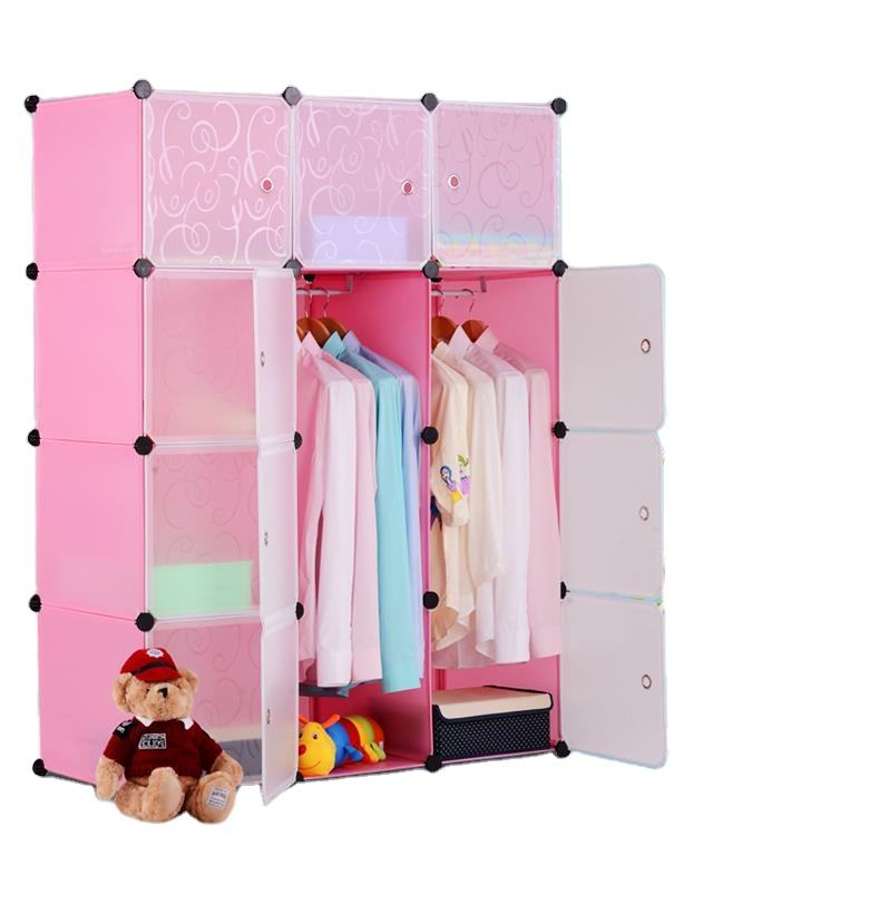 New Modular Cube Plastic Diy Portable Closet Bedroom Wardrobe For Kids factory sale