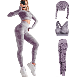 Groothandel 3Pcs Naadloze Yoga Set Sport Wear Yoga Beha Crop Top Leggings Camo Sets Vrouwen Yoga Fitness Set