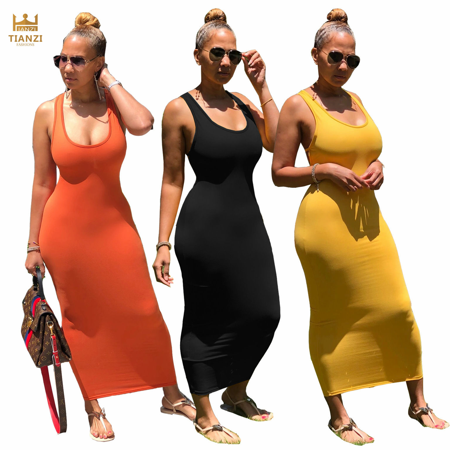 S6713 - women casual solid backless bodycon bandage maxi dresses