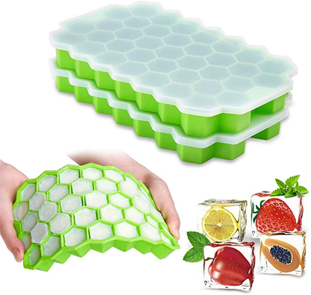 Packaging Customization [ Ice ] High Quality 37 Cavity Honeycomb Design Ice Cube Tray / Hexagon Ice Cube Tray