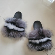 Real Fox Fur Slippers  fur slide sandals Custom Women Fashion Fur Slides