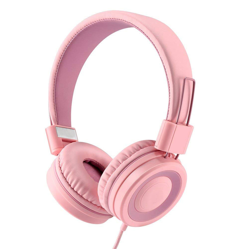 Portable adjustable foldable Hifi stereo sound quality 85dB limited over ear kids children wired headphone hedset