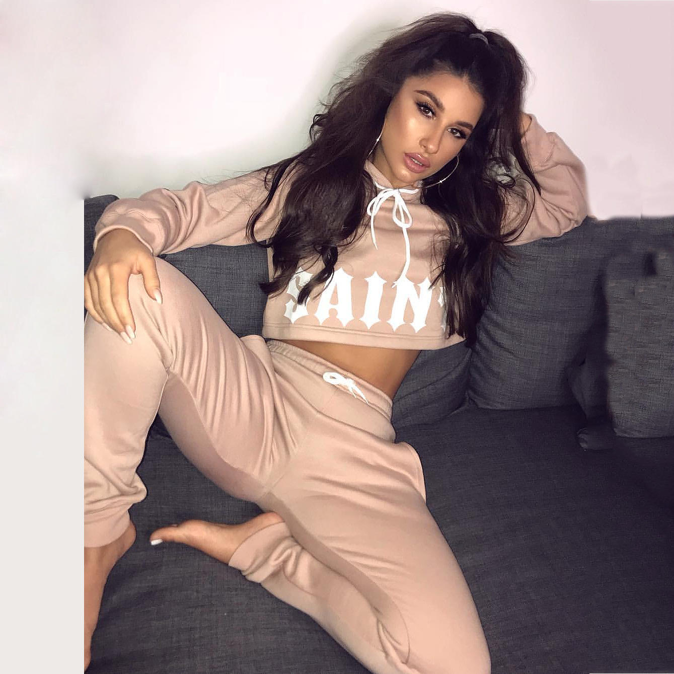 New Design Fashion Sports Ladies Sweatsuit Set Solid Wholesale Autumn Plain fitted | Custom Tracksuit Women