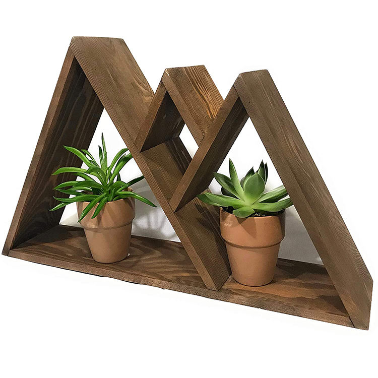 Best selling rustic hanging hardware included mountain wooden wall hanging shelf