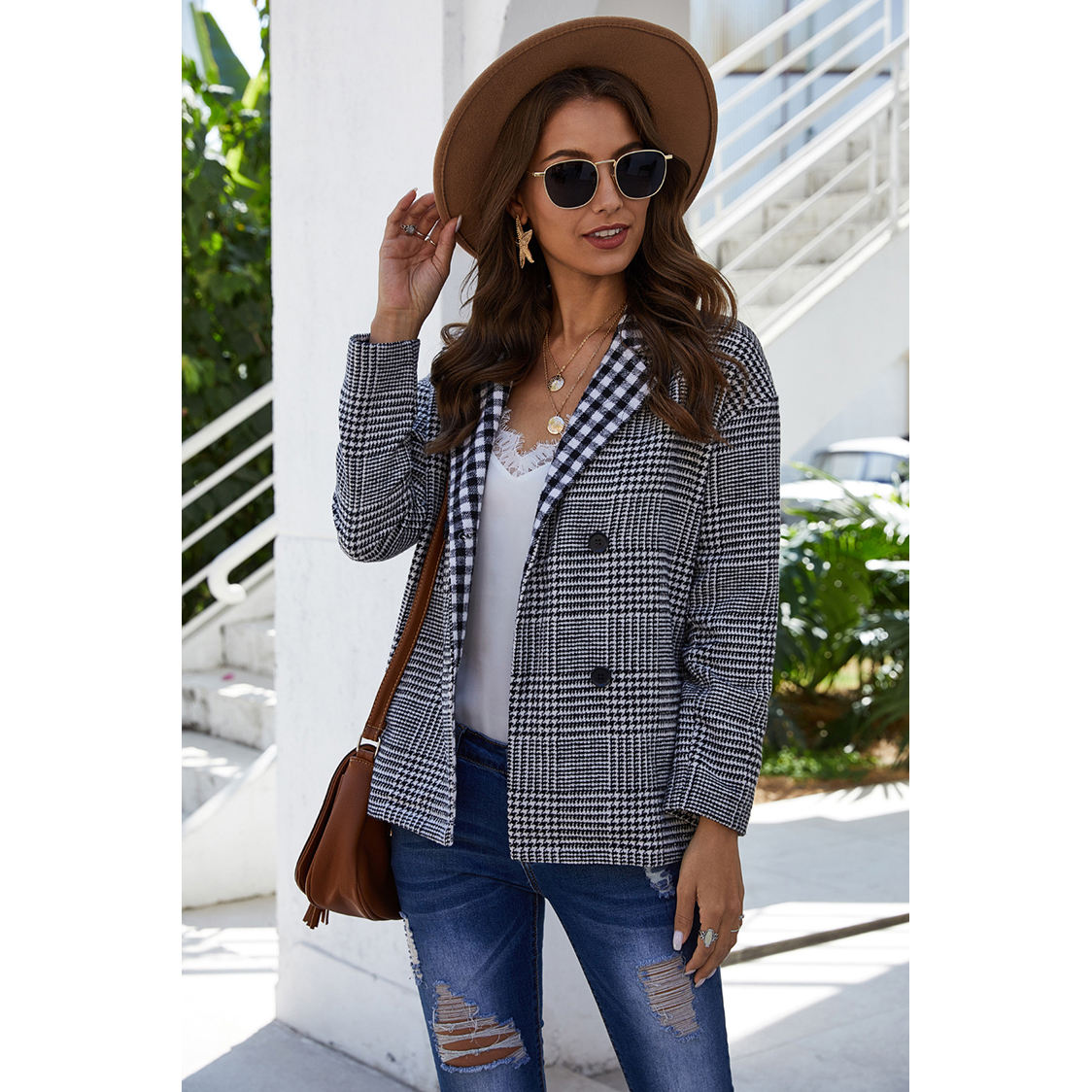 Hottest new fall winter double-breasted check pattern fashion small suit jacket women coat