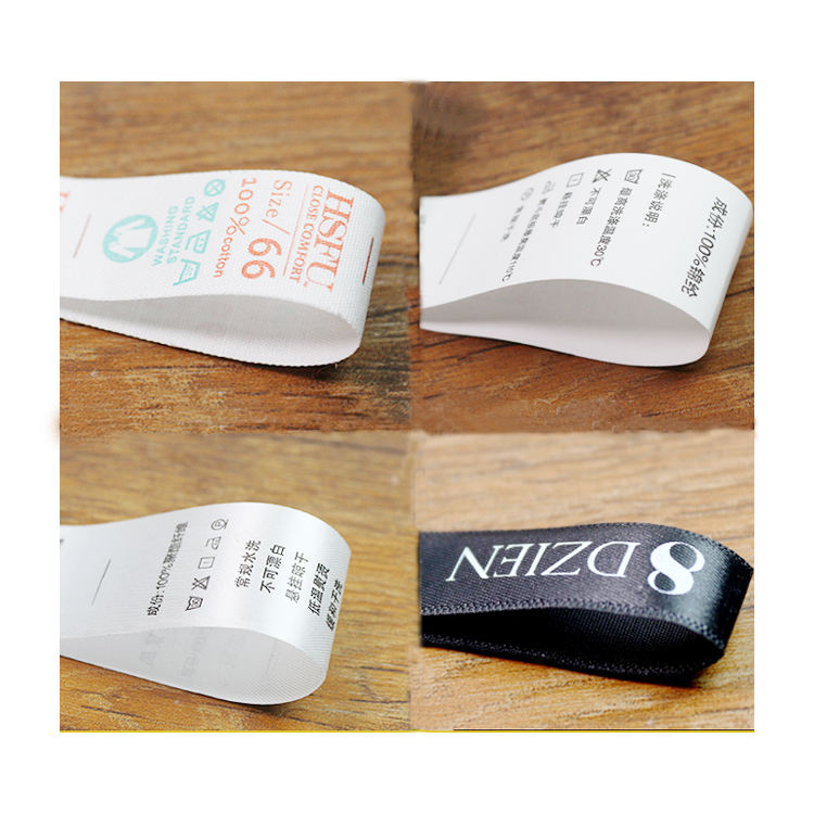 wholesale china custom size logo satin polyester silk cotton clothing / shoes/ socks/ jeans tags washing garment care label