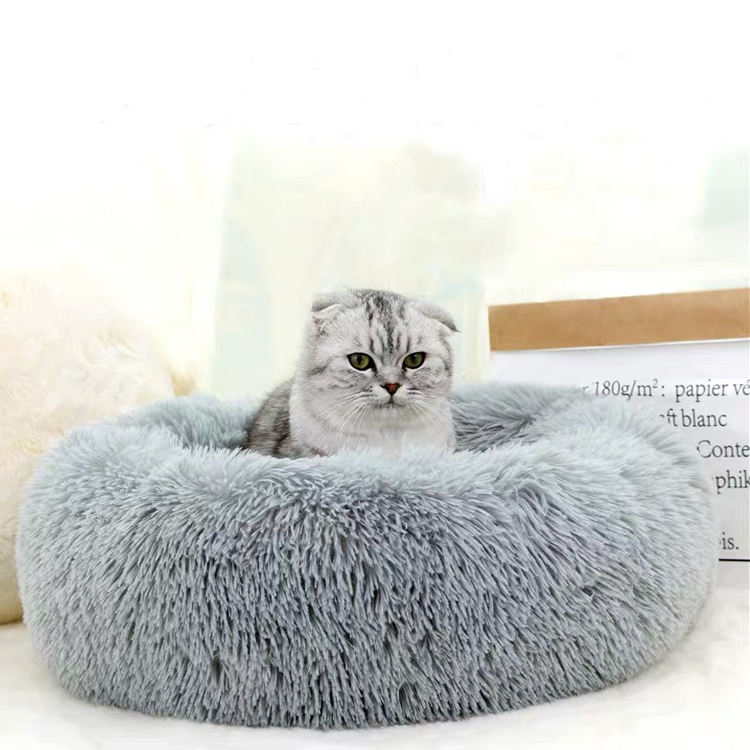 Hot Selling Custom Pet Beds Cozy Donut Waterproof Luxury Dog Cat Bed No Slip Colourful Plush Bed Fluffy