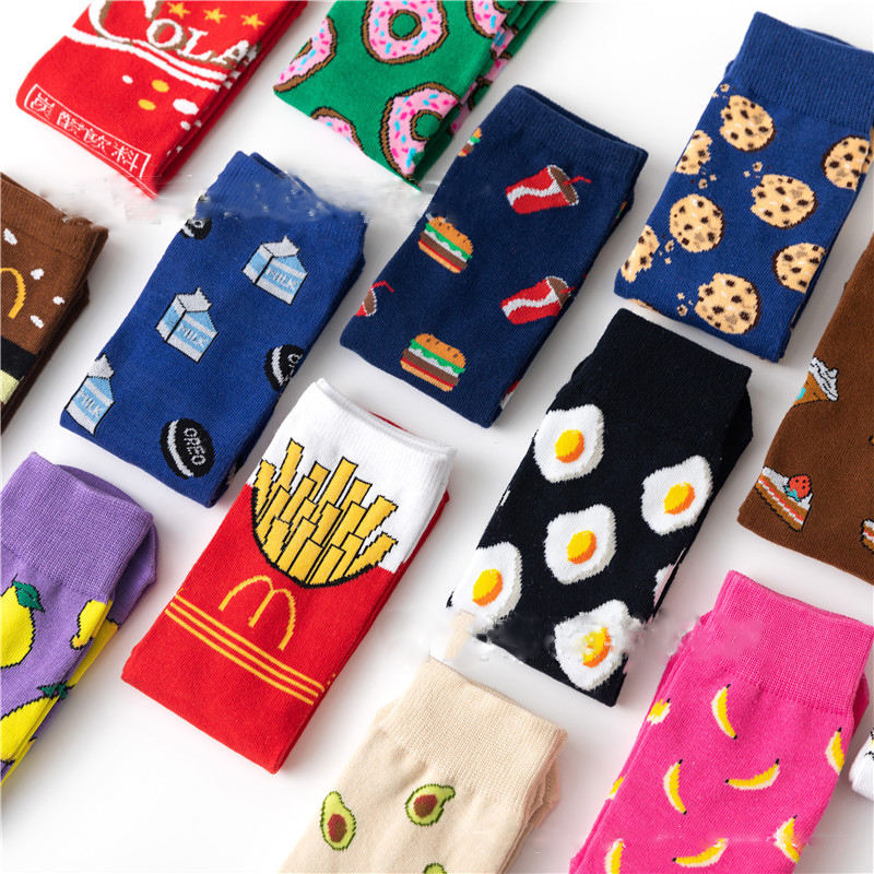Top quality women Fruit sock happy thigh high socks