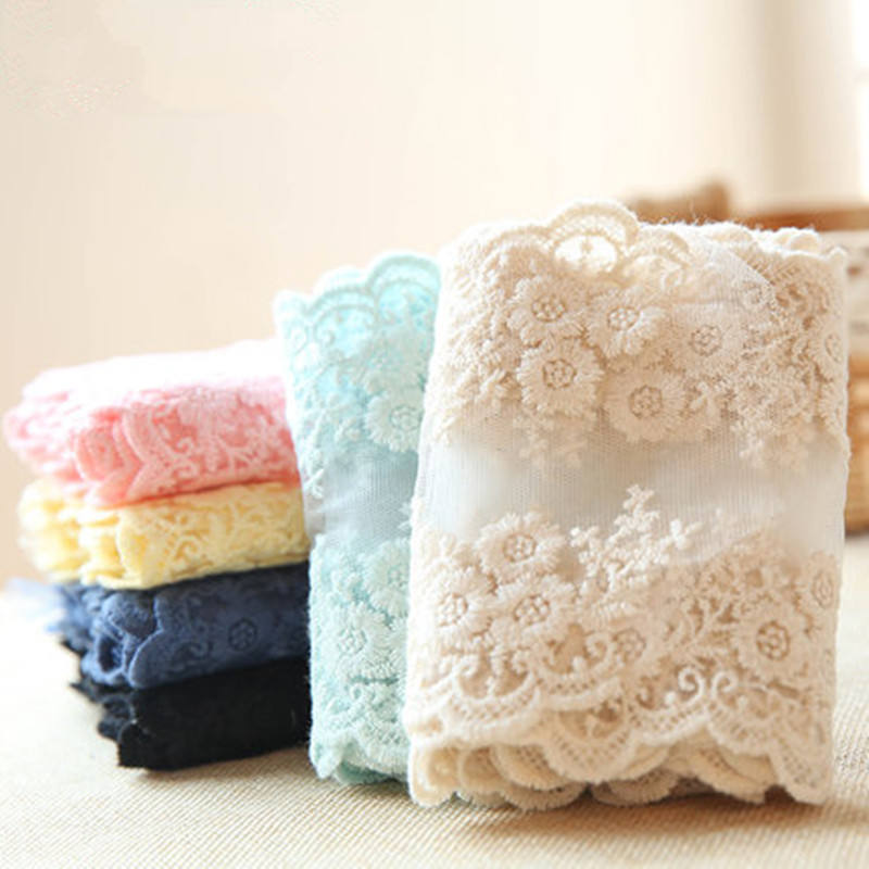 Knitted Lace Pure Cotton Fabric Accessories Sewing DIY Handmade Bedding Tablecloths Curtains Necklaces Flower Lace Cloth