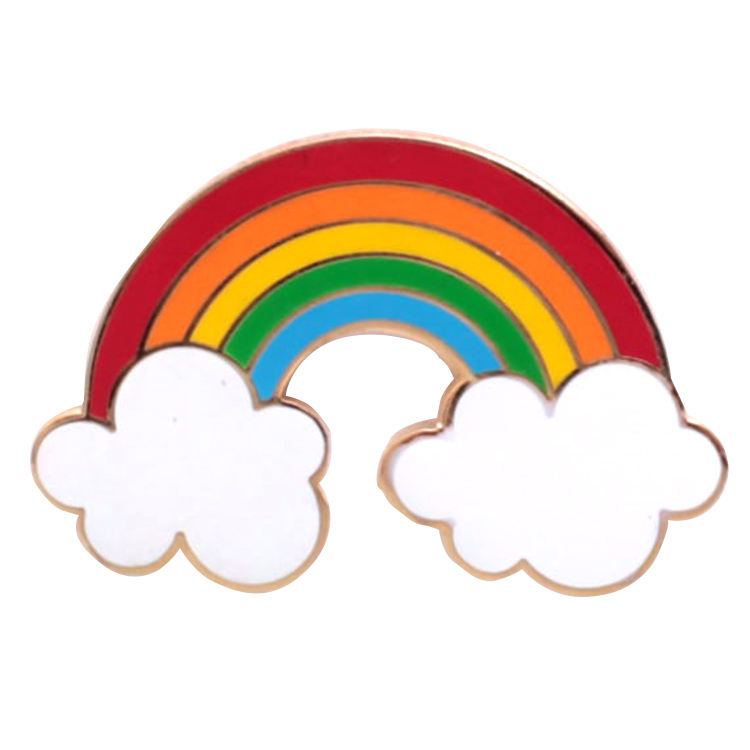 Cute Gold Soft Enamel Pin Rainbow Custom Metal
