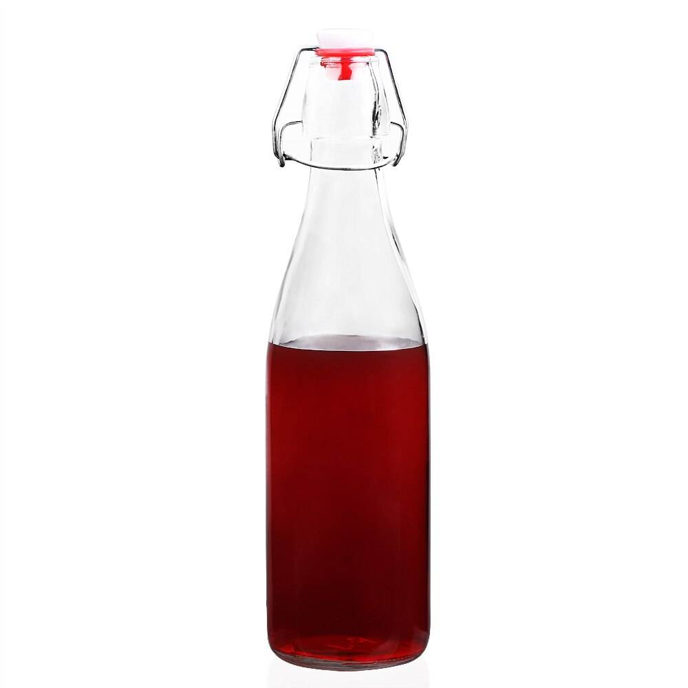 17 Oz Clear Kombucha Glass Bottle With Airtight Swing Top