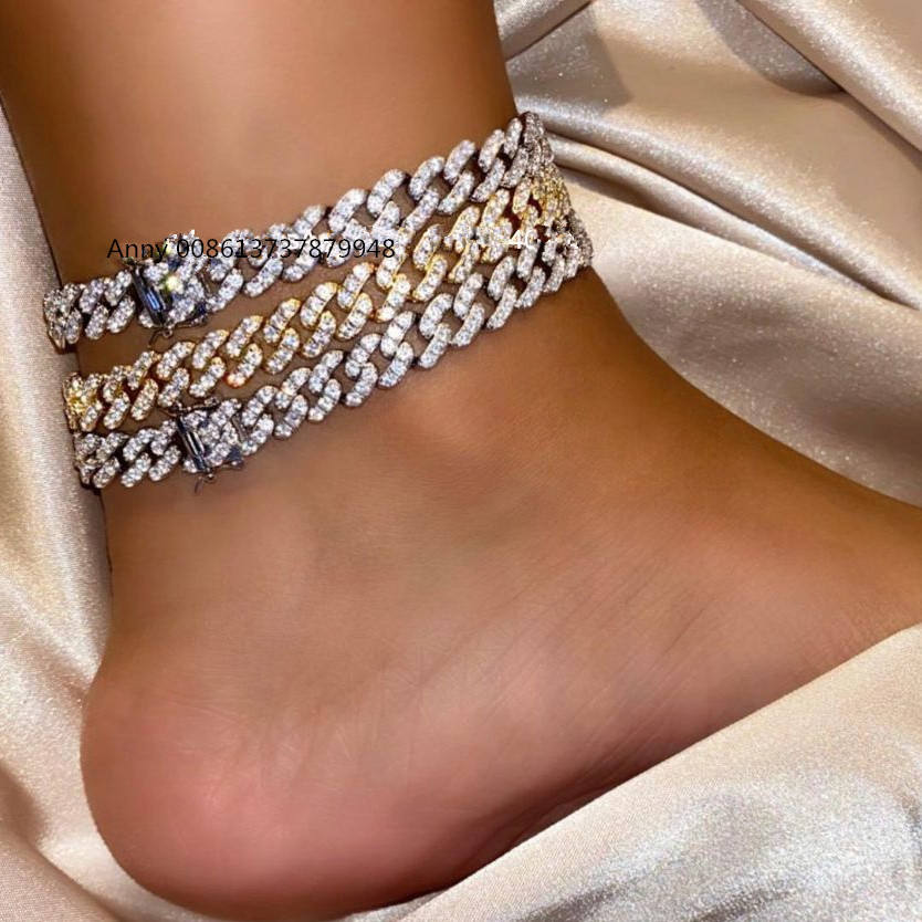 New arrived hip hop Foot Jewelry Ankle Bracelet For Women Yellow Gold Color Cuban Link Chain Ribbon Anklet Bracelet Barefoot