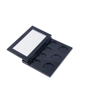 wholesale black acrylic makeup palettes PMMMA eyeshadow palette with mirror