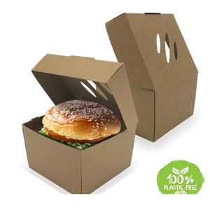 Large Disposable Takeaway Cardboard Clamshell Burger Boxes Fast Food Packaging