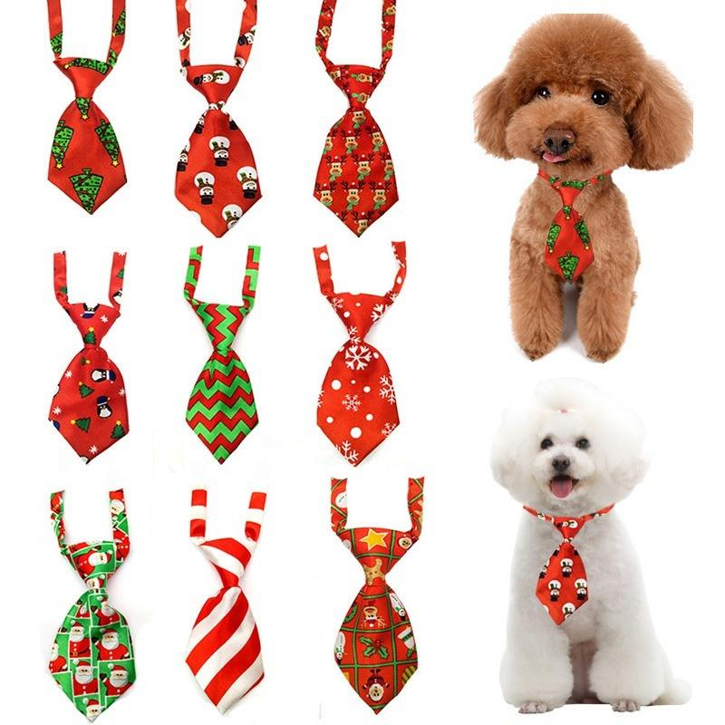 2 Pcs Christmas Dog Neck Tie Accessories for Small Dogs Adjustable Pet Tie Grooming for Puppy Cat Necklace