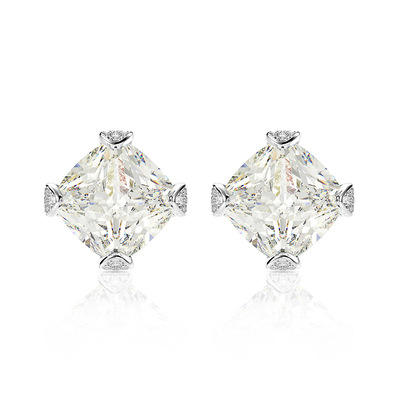 Fanluo Poetry Shining Emulation Fat Square Diamond Ice Flower Cut Earrings 8X8mm s925 Silver Ladies Jewelry