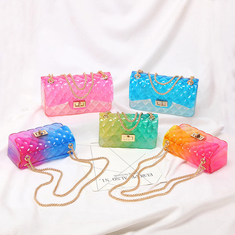 wholesale ladies sling shoulder bag messenger bag fashion pvc chain transparent jelly bag