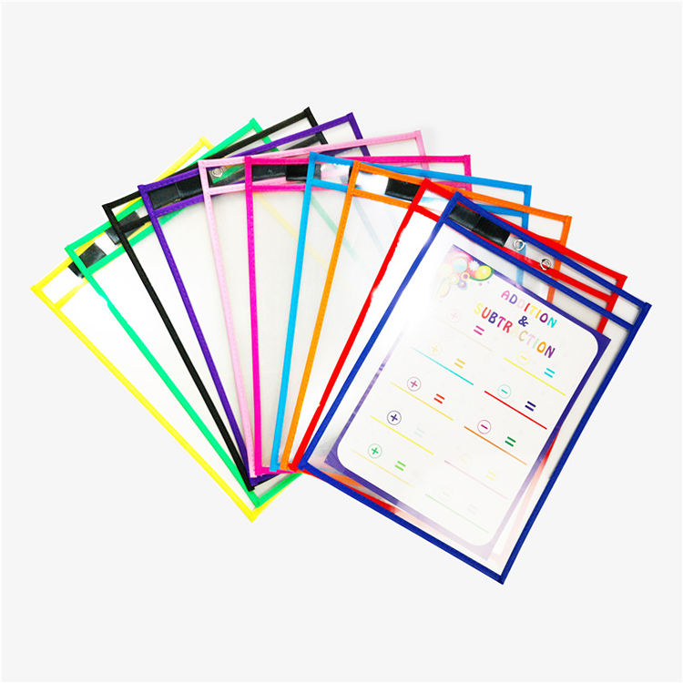 Transparent Document Pocket,hot selling dry erase sleeves Reusable Dry Erase Pocket customized Logo and Size