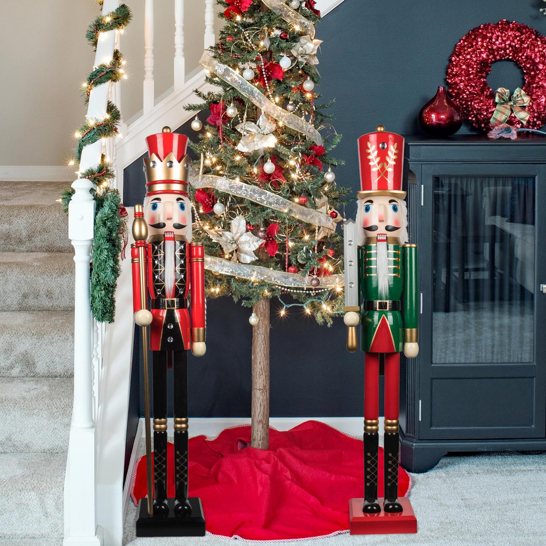 GerFogoo decorazione per la casa e le vacanze schiaccianoci in legno classico Babbo Natale per albero di Natale 5 pupazzi di noce
