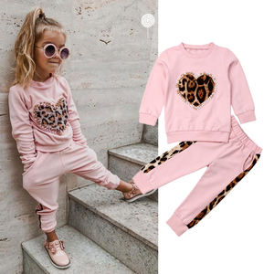 Toddler Kid Baby Girl Winter Clothes Sets Pink Long Sleeve Leopard Tops Long Pants Outfit Tracksuit